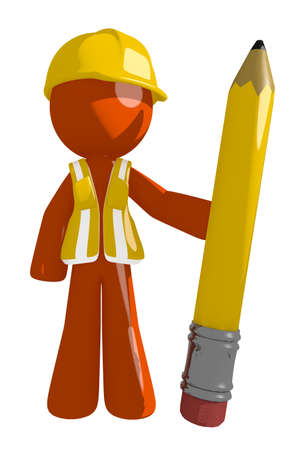 Orange Man Construction Worker  Holding Giant Pencil