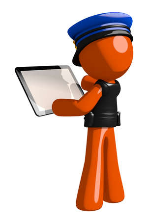 game pad: Orange Man police officer  Viewing Tablet Computer Back View Blank Space Stock Photo