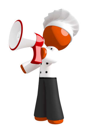 3d chef: Orange Man Chef Shouting into Megaphone or Bullhorn Left