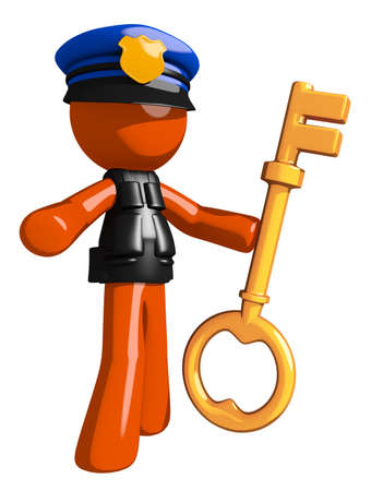 orange man: Orange Man police officer  Holding Key