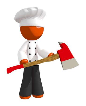 ax man: Orange Man Chef Holding Ax