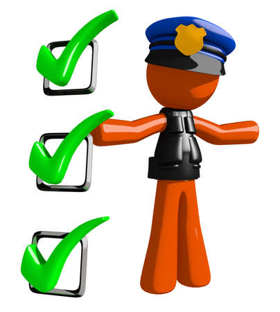 orange man: Orange Man police officer  Presenting Green Checkmark List Stock Photo
