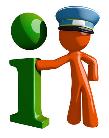cartoon orange: Orange Man postal mail worker  Info Icon