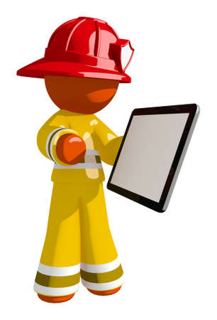 touch: Orange Man Firefighter with Tablet and Blank Space Stock Photo