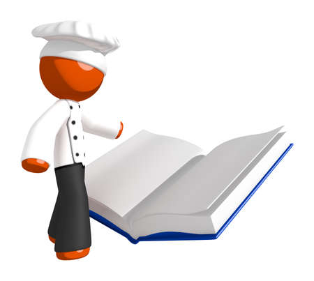 student study: Orange Man Chef Reading Large  Recipe Cook Book