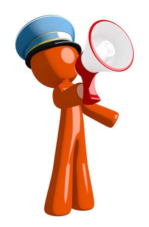 mailman: Orange Man postal mail worker  Speaking in Megaphone  or Bullhorn