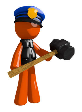 orange man: Orange Man police officer  Man Holding Giant Sledge Hammer