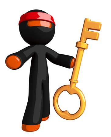 key: Orange Man Ninja Warrior Standing with Large Gold Key