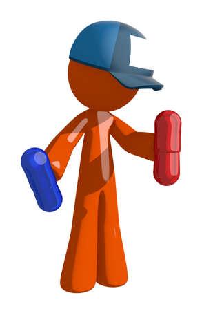 hombre caricatura: Hombre anaranjado correo postal trabajador celebraci�n de las p�ldoras