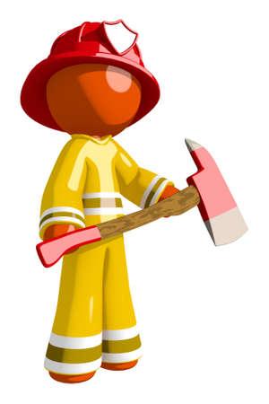 ax man: Orange Man Firefighter Hero with Ax