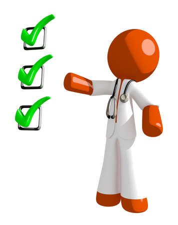 orange man: Orange Man doctor Pointing Green Checkmark List Stock Photo