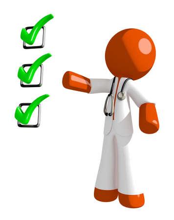 doctor exam: Orange Man doctor Pointing Green Checkmark List Stock Photo