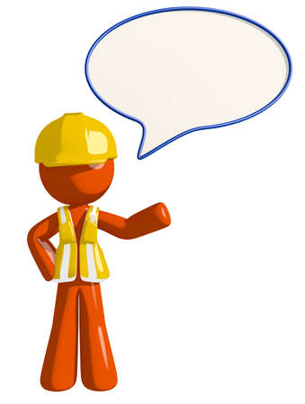 builder: Orange Man Construction Worker  Word Bubble