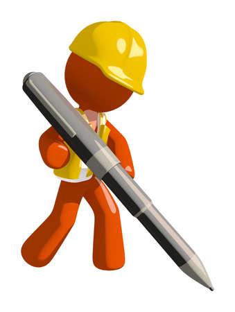 industrial safety: Orange Man Construction Worker