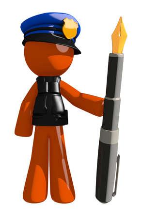 orange man: Orange Man police officer  Holding Fountain Pen Stock Photo