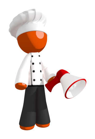professional people: Orange Man Chef Posing with Bullhorn or Megaphone