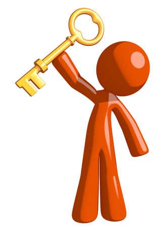 orange man: Orange Man Holding Up Key to Success Stock Photo