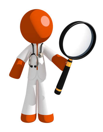 see a doctor: Orange Man doctor Holding Magnifying Glass