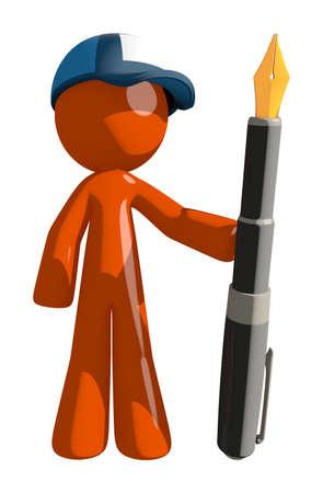 mail man: Orange Man postal mail worker  Holding Fountain Pen
