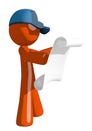 mailman: Orange Man postal mail worker  Reading Schematic Front