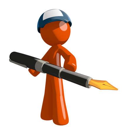 mail man: Orange Man postal mail worker holding pen
