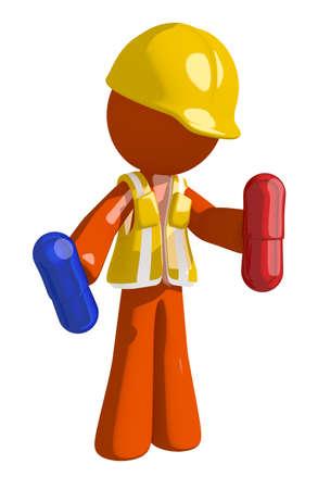 arquitecto caricatura: Las p�ldoras de color naranja Hombre de la construcci�n explotaci�n agr�cola del trabajador