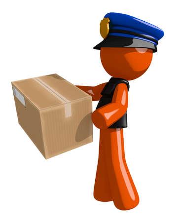 orange man: Orange Man police officer  Delivering a Package Stock Photo