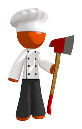 cooking food: Orange Man Chef Holding Ax Upright