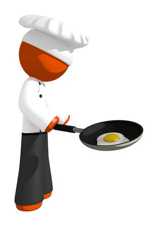 fried eggs: Orange Man Chef with Frying Pan and Egg Cooking Stock Photo