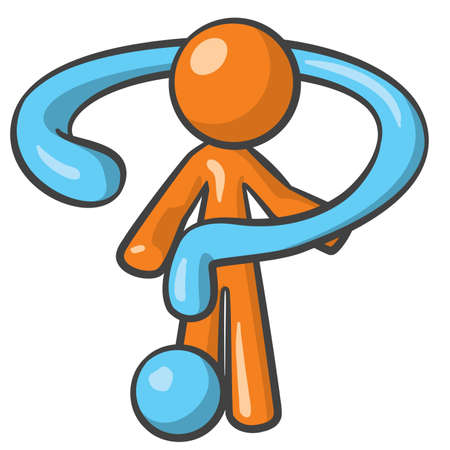 search query: Orange person posing with giant question mark