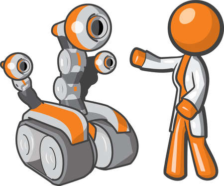 maintenance engineer: Orange person robotics technician