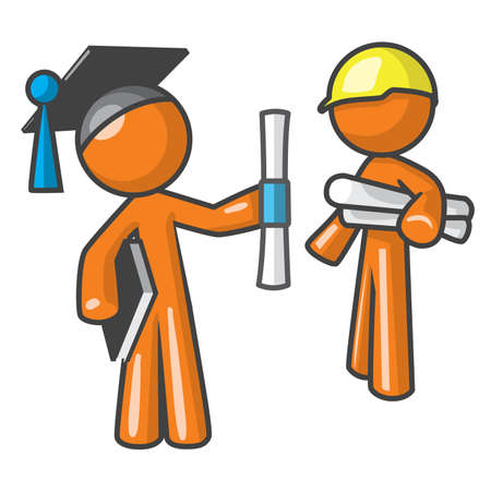 graduating: Orange person graduating to a profession