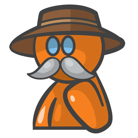 Orange person Dr Livingstone avatar with glasses, mustache, and hat.