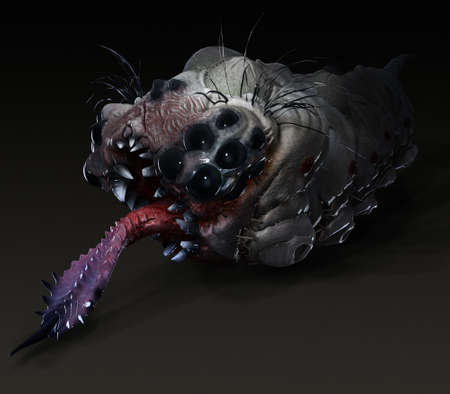 stinging: Parasitic grub worm alien with stinging tongue and lots of eyes and teeth