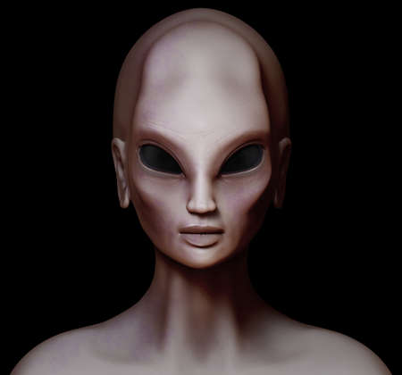 extraterrestrial: Hybrid alien woman facing forward isolated on black