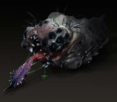 stinging: Parasitic grub worm alien with stinging tongue side view dark with poison slime