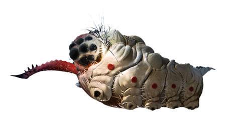 stinging: Parasitic grub worm alien with stinging tongue side view on white Stock Photo
