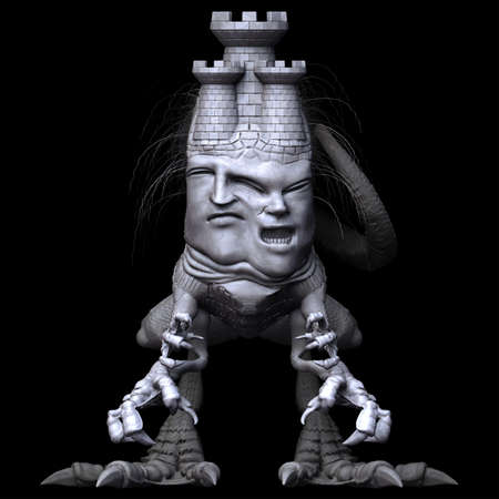 idolatry: Front view of Watchtower monster on black