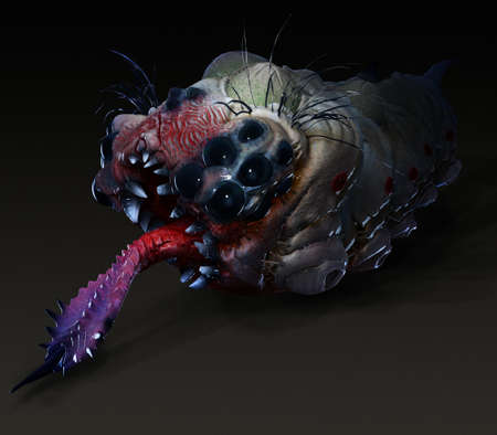 stinging: Parasitic grub worm alien with stinging tongue side view dark saturated color Stock Photo