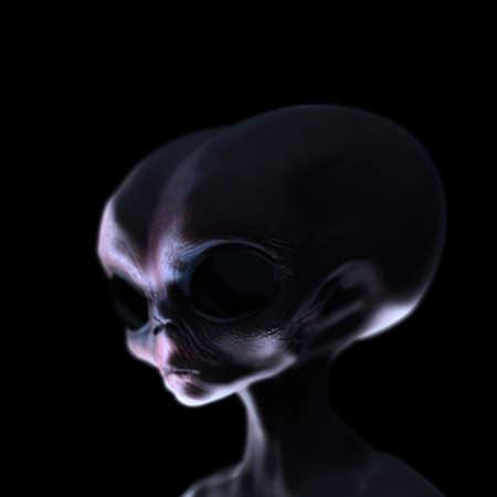 creepy alien: Grey alien caught at night creepy lighting