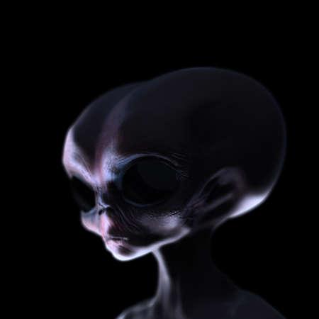 roswell: Grey alien caught at night creepy lighting