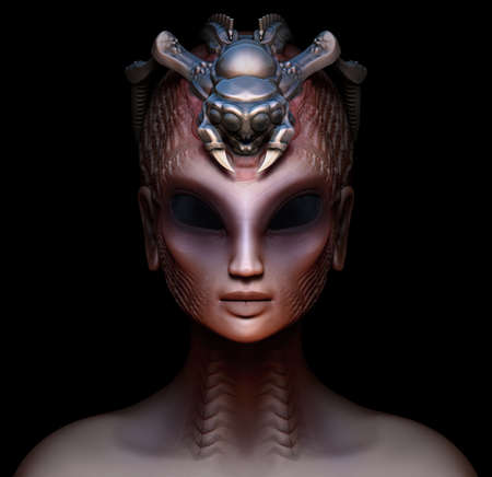 alien women: Hybrid alien woman queen with embedded parasite crown front view