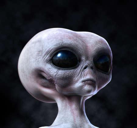 extraterrestrial: Grey alien portrait on dark background.