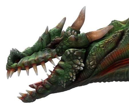 horned: Green horned dragon side view on black