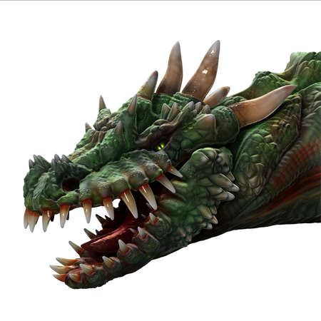 large mouth: Green horned dragon portrait with large teeth, mouth open, on white.