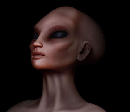 hybrid: Hybrid alien woman looking upward Stock Photo