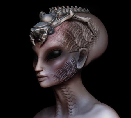 alien women: Hybrid alien woman queen with embedded parasite crown side view on black