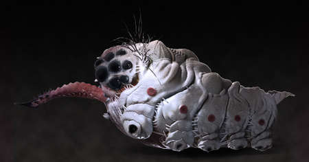 grub: Parasitic grub worm alien with stinging tongue side view dark