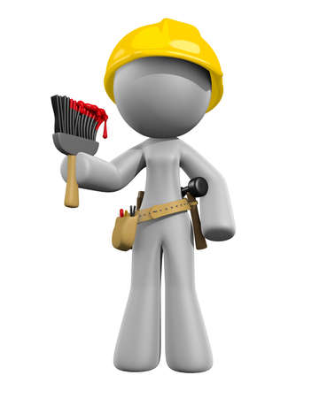 Painting Lady with Brush and Tools Ready to Work Stock Photo