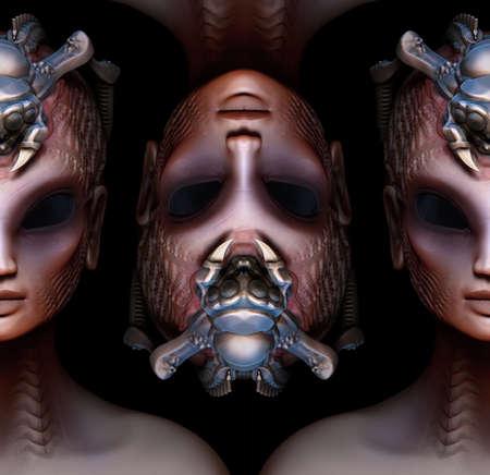 hybrid: Hybrid alien woman queen pattern strange concept Stock Photo